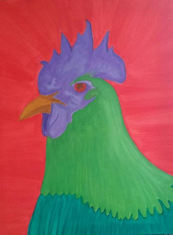 Rooster Poster featuring the painting Hamilton In Green by Mary Vuong