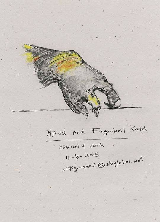 Hand Poster featuring the drawing Hand And Fingernail by Robert Wittig