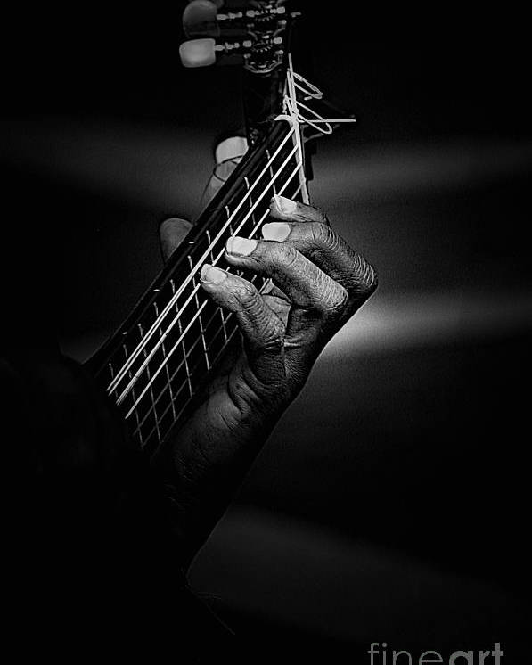 Guitar Poster featuring the photograph Hand Of A Guitarist In Monochrome by Sheila Smart Fine Art Photography