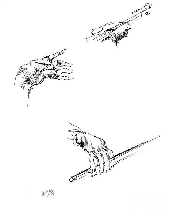 Sketch Of Violin Player\ Poster featuring the drawing Hands Of A Violin Player by Paul Miller