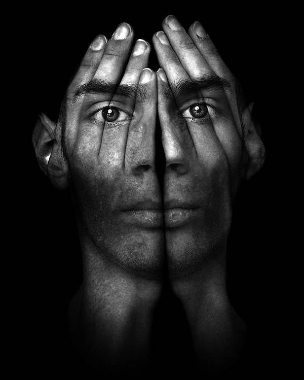 Man Poster featuring the photograph Hands Trying To Cover Eyes by Evan Sharboneau