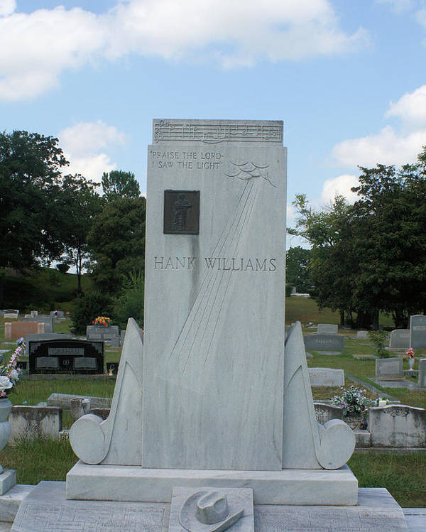 Hank Williams Sr. Poster featuring the photograph Hank Williams Sr. Headstone by Carolyn Postelwait