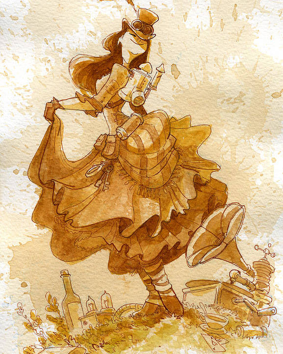 Steampunk Poster featuring the painting Happiness by Brian Kesinger