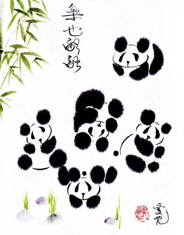Panda Poster featuring the painting Happiness Is Getting Along by Oiyee At Oystudio