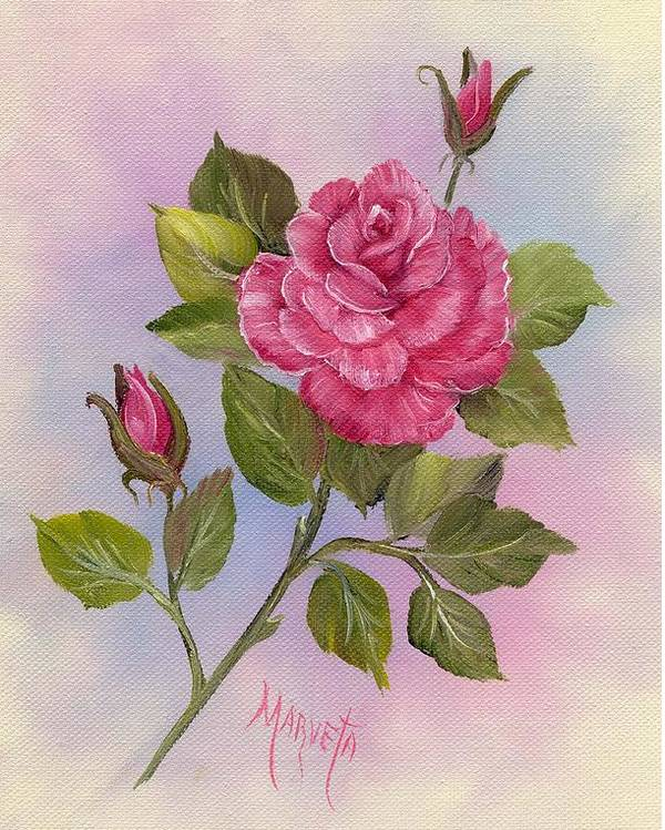 Paining Poster featuring the painting Happiness Rose by Marveta Foutch