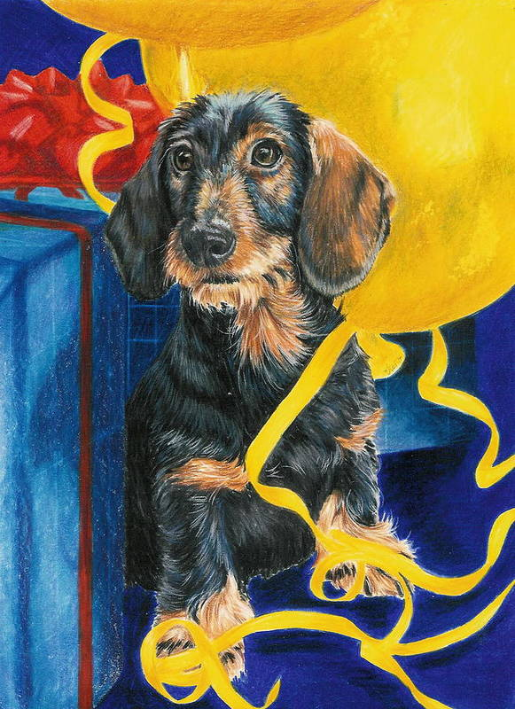 Dogs Poster featuring the drawing Happy Birthday by Barbara Keith