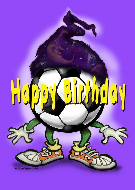 Soccer Poster featuring the greeting card Happy Birthday Soccer Wizard by Kevin Middleton