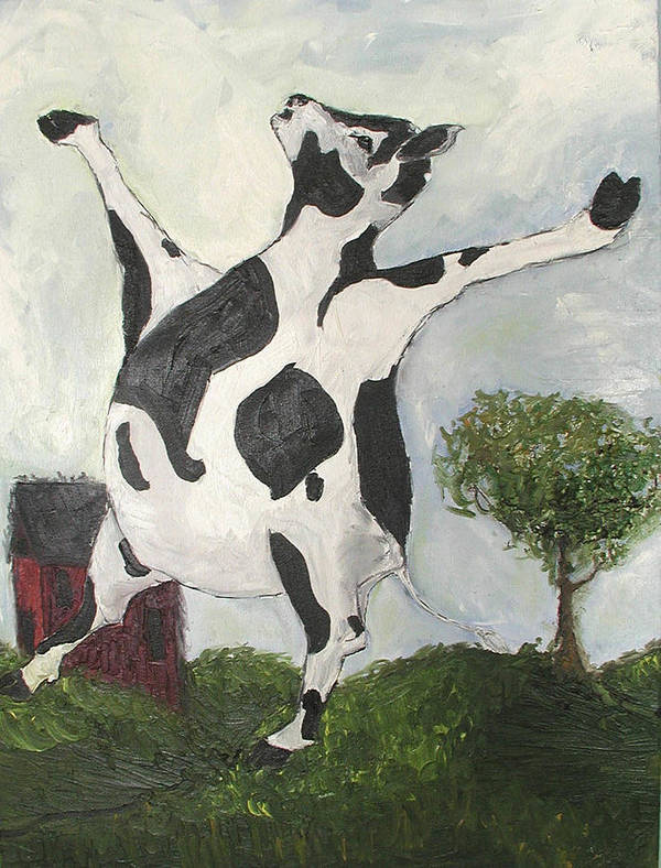 Cow Poster featuring the painting Happy Cow by Sarah Goodbread