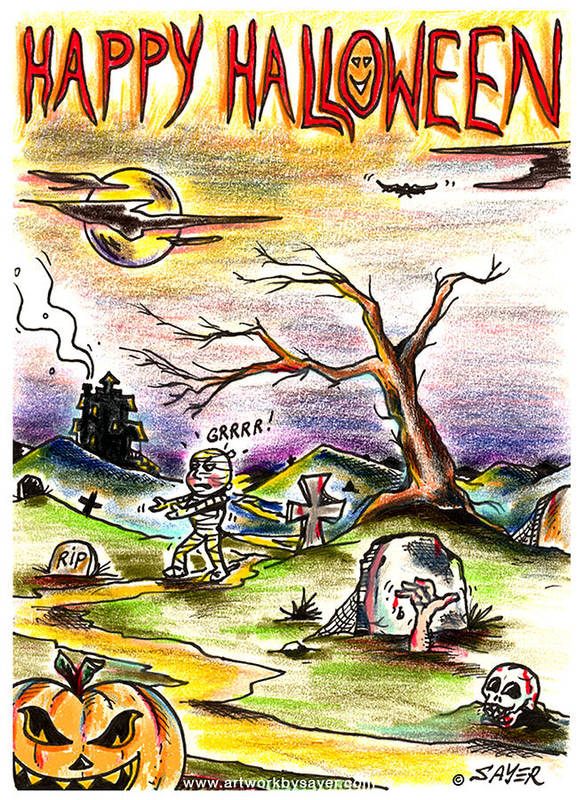 Halloween Poster featuring the drawing Happy Halloween by James Sayer