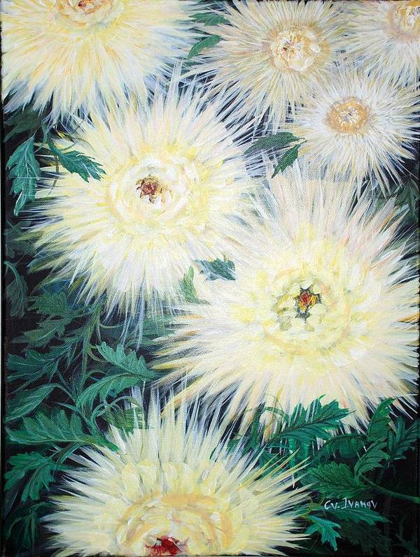 Flowers Poster featuring the painting Happy Mums by Cvetko Ivanov