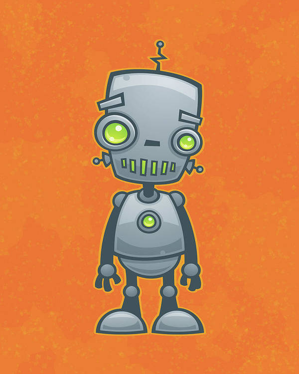 Robot Poster featuring the drawing Happy Robot by John Schwegel
