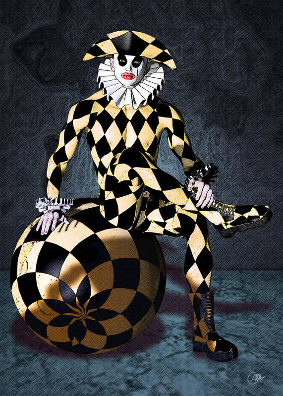Harlequin Poster featuring the digital art Harlequin Circus Mime by Quim Abella