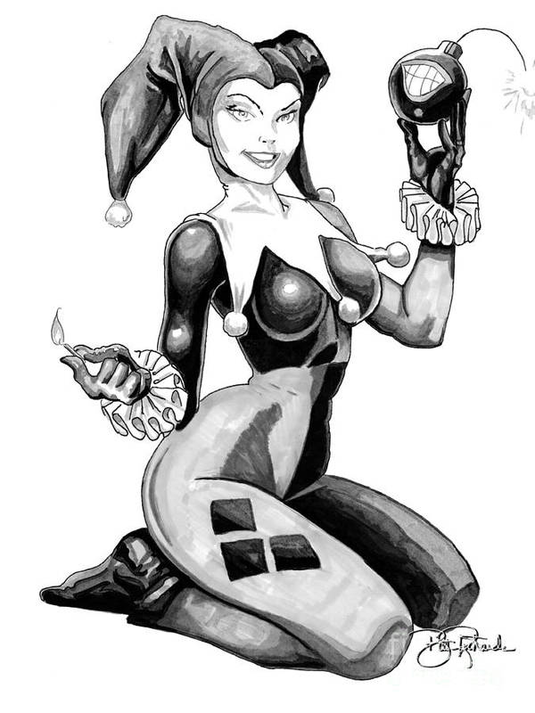 Harley Poster featuring the drawing Harley Quinn by Bill Richards