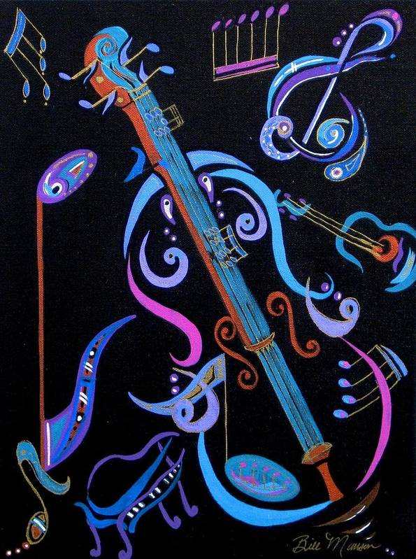 Original Art Poster featuring the painting Harmony In Strings by Bill Manson