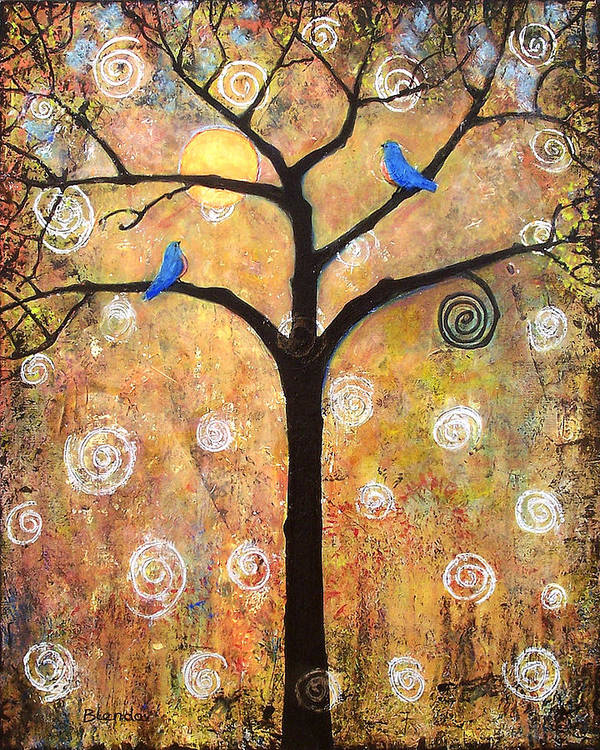 Tree Poster featuring the painting Harvest Moon by Blenda Studio