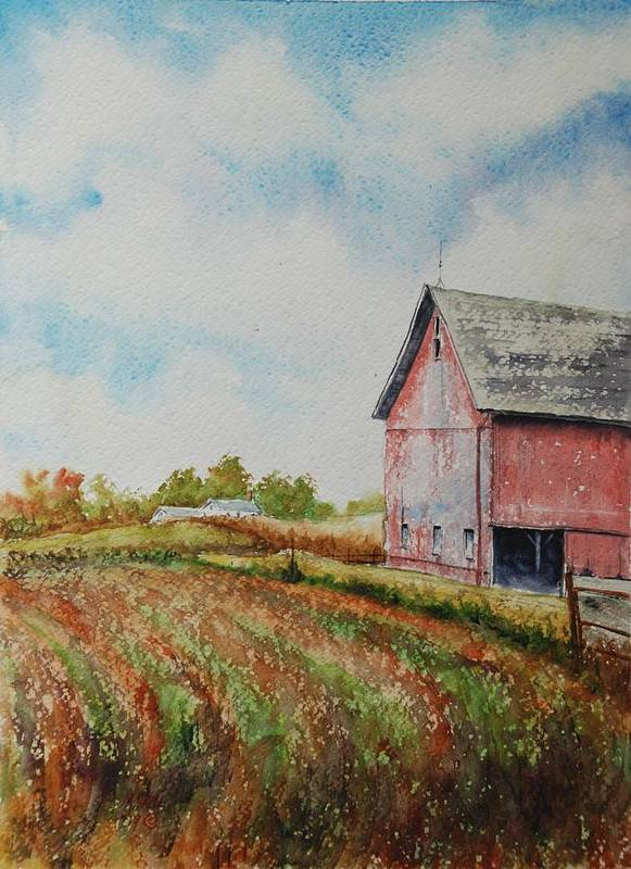 Landscape Poster featuring the painting Harvest Time by Mike Yazel