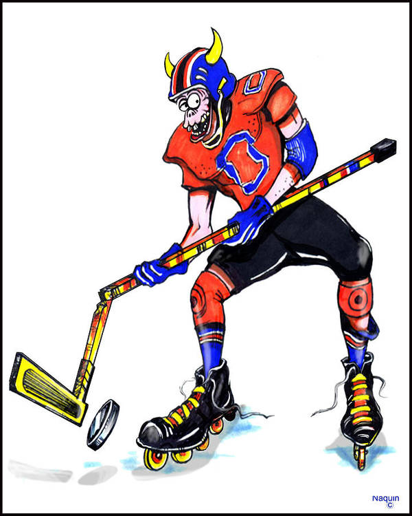 Cartoon Poster featuring the drawing Hat Trick Hockey Player by Keith Naquin