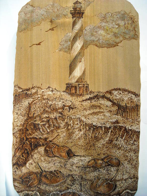 Lighthouse Poster featuring the pyrography Hatteras And Horseshoe Crabs by Doris Lindsey