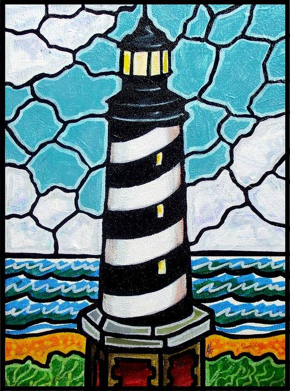 Lighthouse Poster featuring the painting Hatteras Island Lighthouse by Jim Harris