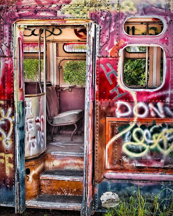 Graffiti Poster featuring the photograph Haunted Graffiti Art Bus by Susan Candelario