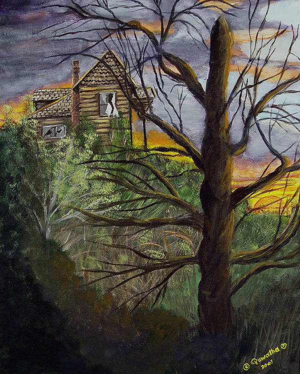House Poster featuring the painting Haunted House by Quwatha Valentine