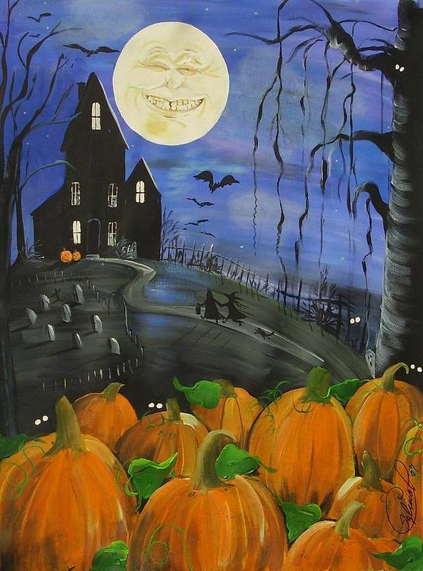 Trick Or Treat Poster featuring the painting Haunted Night by Sylvia Pimental