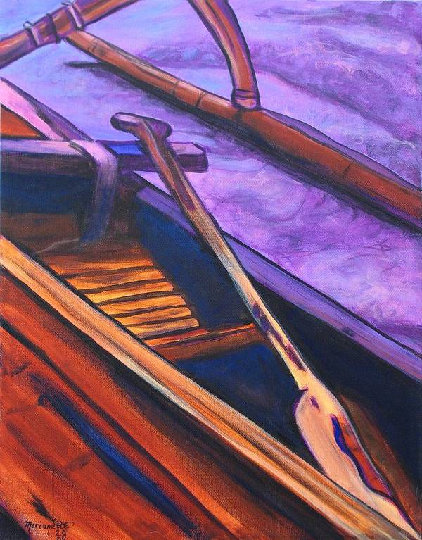 Canoe Poster featuring the painting Hawaiian Canoe by Marionette Taboniar