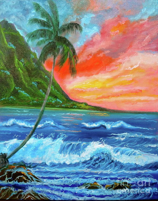 Sunset Poster featuring the painting Hawaiian Sunset by Jenny Lee