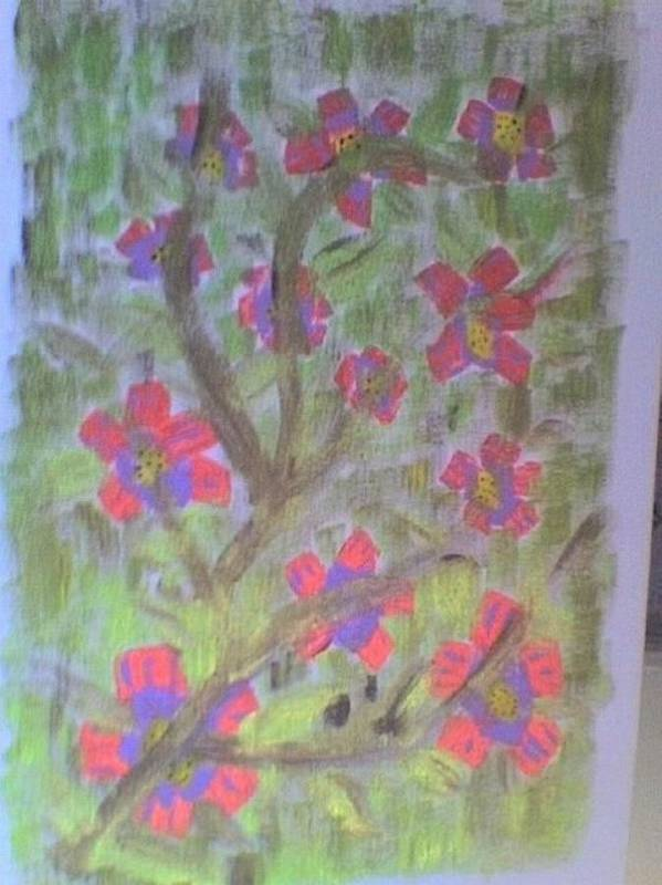 Pink Florals Poster featuring the painting Hds-acrylic Floral Green by Hema V Gopaluni