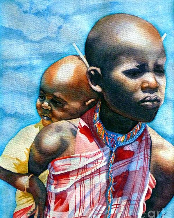 Portrait Poster featuring the painting He Ain't Heavy...he's My Brother by Gail Zavala