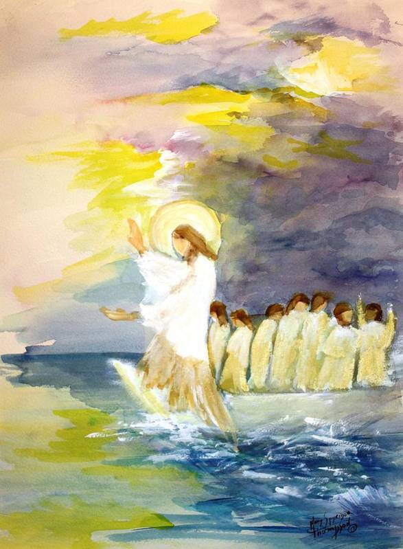 Jesus Poster featuring the painting He Calms The Waters by Mary Spyridon Thompson
