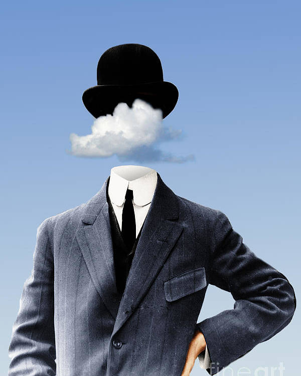 head In The Clouds Poster featuring the digital art Head In The Clouds by Kenneth Rougeau