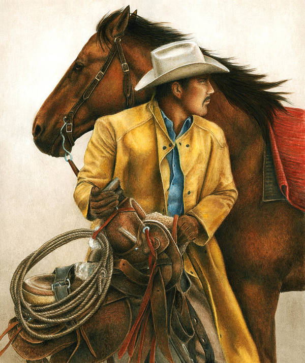 Cowboy Poster featuring the painting Heading Out Into The Storm by Pat Erickson