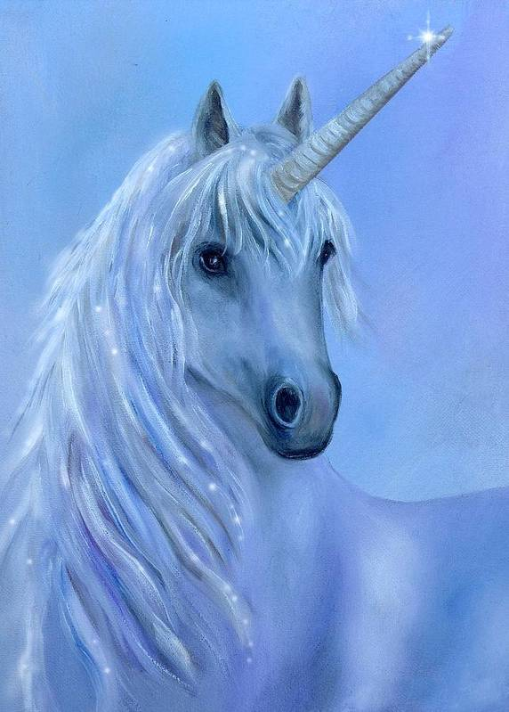 Unicorn Poster featuring the painting Healing Unicorn by Sundara Fawn