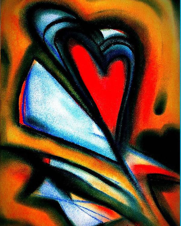 Joan Kamaru Poster featuring the mixed media Heart Letters by J Kamaru