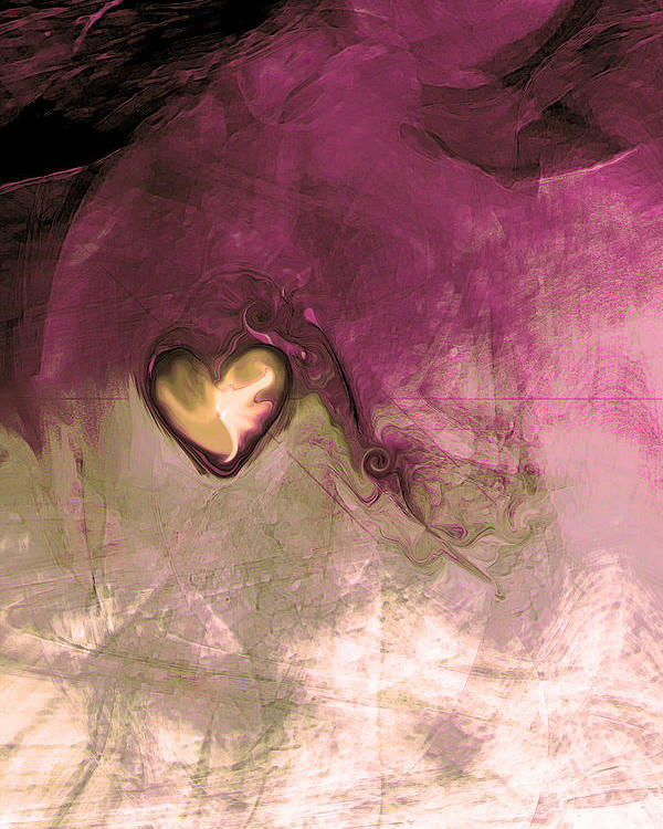 Heart Of Gold Poster featuring the digital art Heart Of Gold by Linda Sannuti