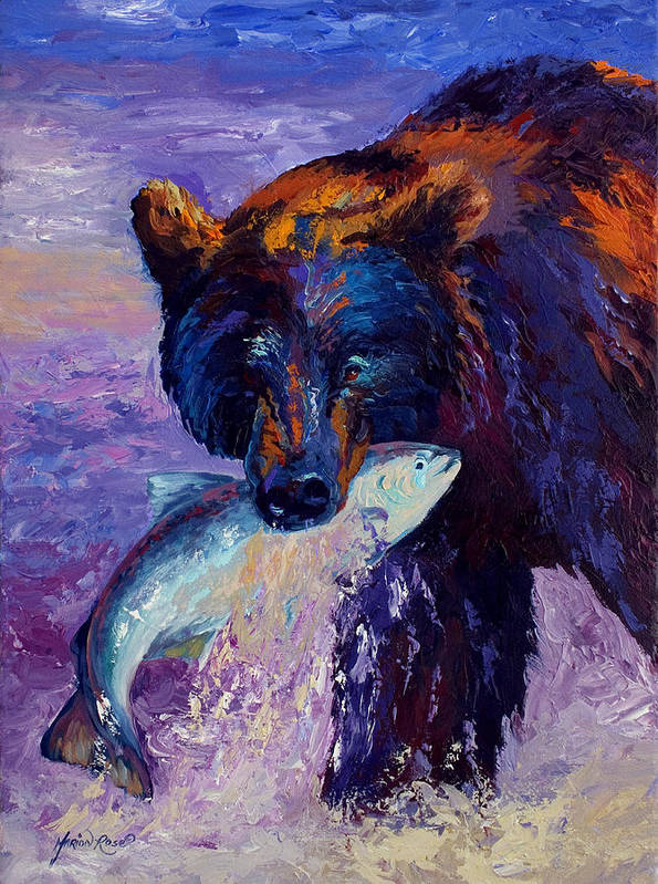 Bear Poster featuring the painting Heartbeats Of The Wild by Marion Rose