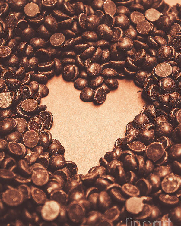 Chocolate Poster featuring the photograph Hearts And Chocolate Drops. Valentines Background by Jorgo Photography - Wall Art Gallery