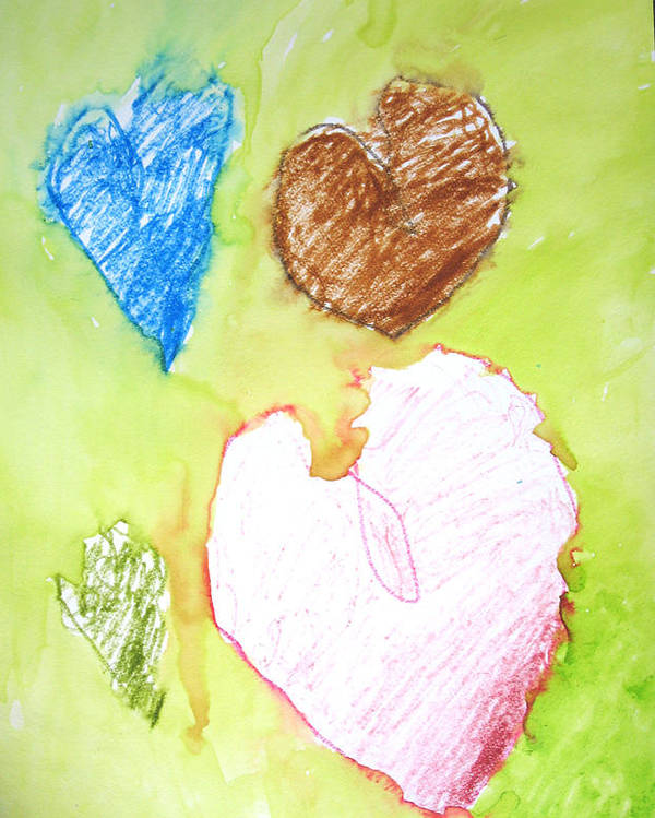 Hearts Poster featuring the mixed media Hearts by Teri Ann Foley