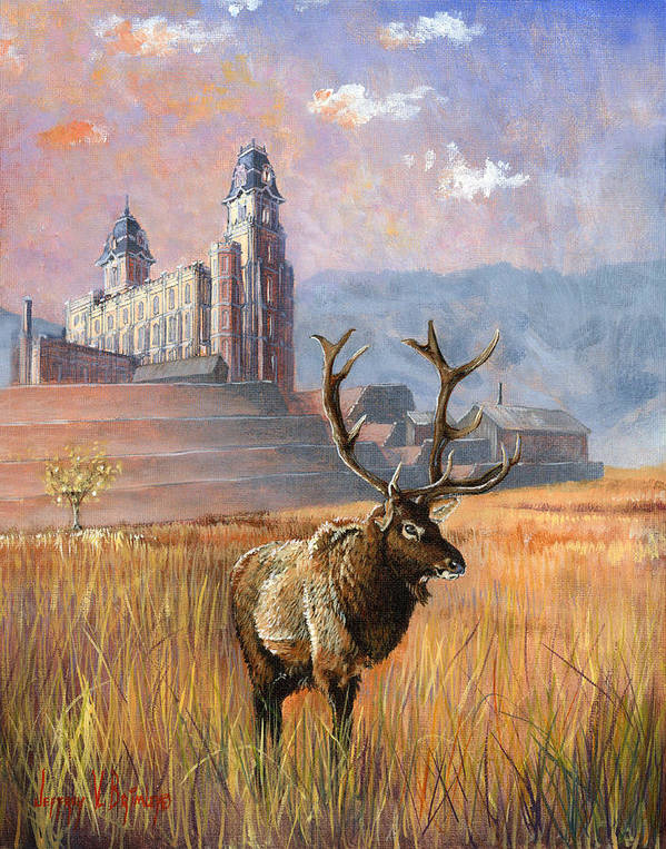 Elk Poster featuring the painting Heaven And Earth by Jeff Brimley