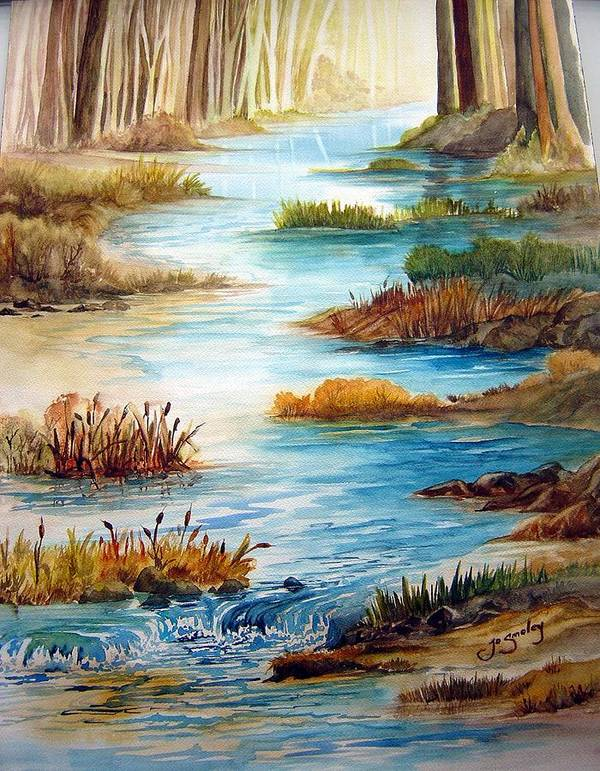 Heavens Gift Water Trees Landscape Poster featuring the painting Heavens Gift by Joanne Smoley