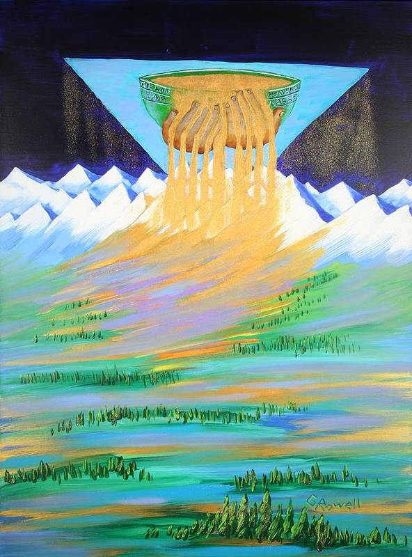 Landscape Poster featuring the painting Heaven's Overflow by Gary Rowell
