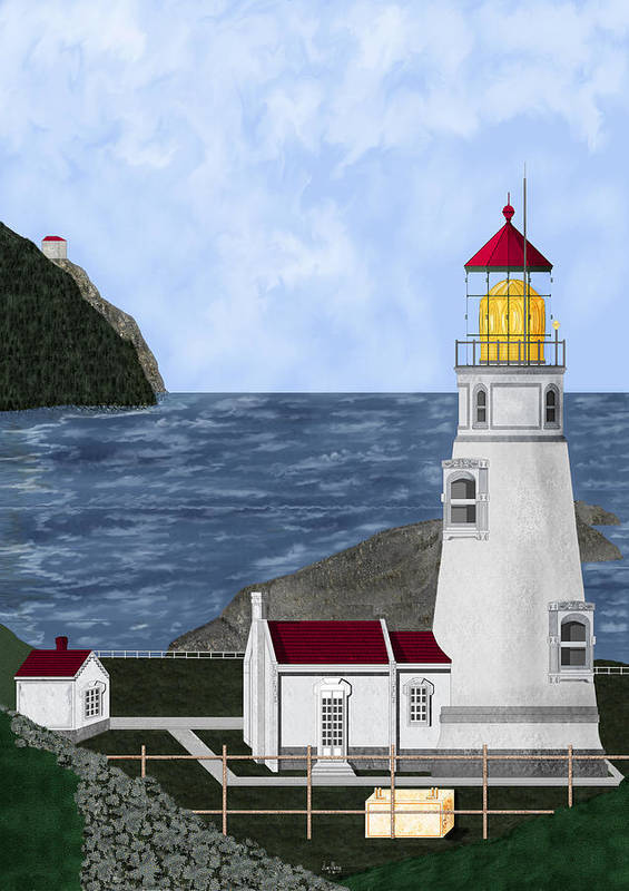 Lighthouse Poster featuring the painting Heceta Head Oregon by Anne Norskog