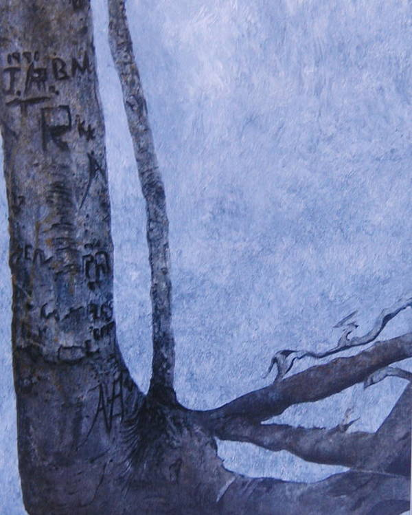 Tree Trunk Poster featuring the painting Hedden Park II by Leah Tomaino