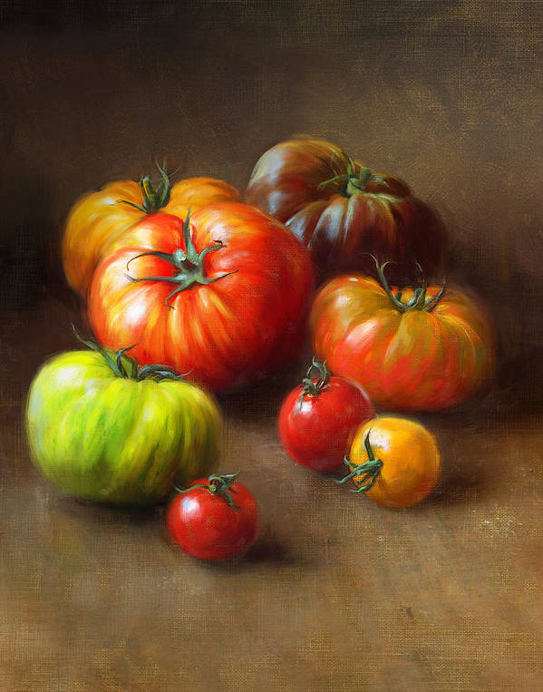 Tomato Poster featuring the painting Heirloom Tomatoes by Robert Papp