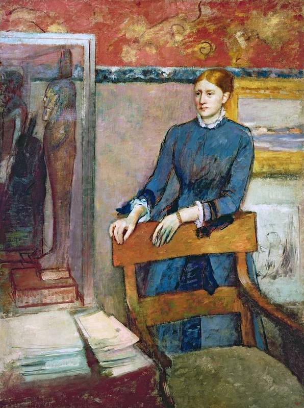 Helene Rouart In Her Father's Study Poster featuring the pastel Helene Rouart by Edgar Degas