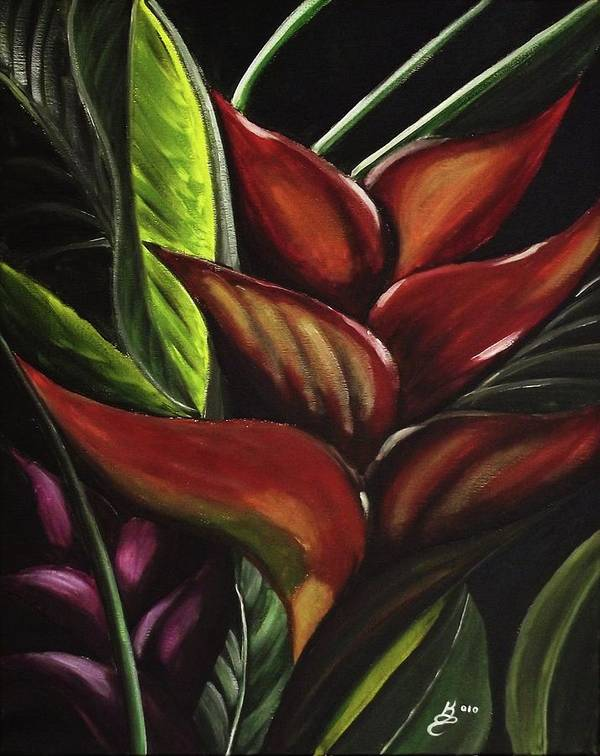 Acrylic Poster featuring the painting Heliconia Flower by Kim Selig
