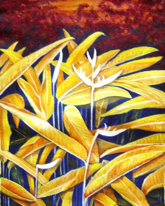 Heliconia Poster featuring the painting Heliconia by Usha Shantharam