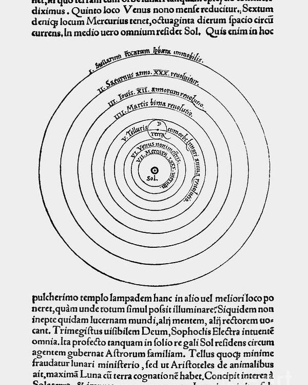 Science Poster featuring the photograph Heliocentric Universe, Copernicus, 1543 by Science Source