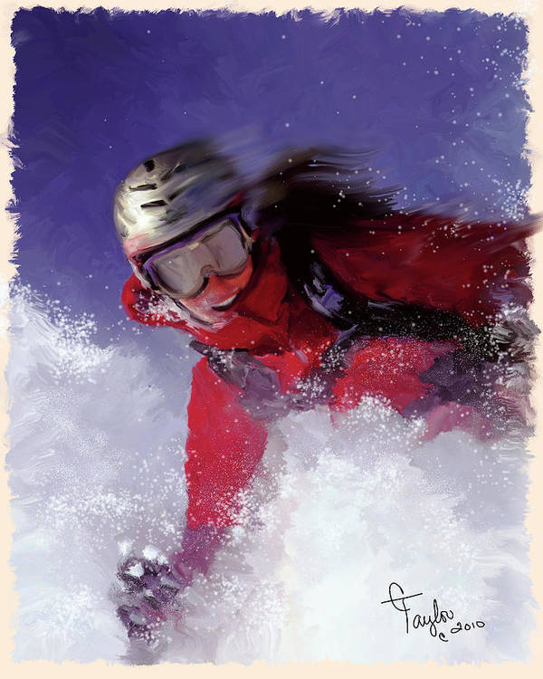 Ski Poster featuring the painting Hell Bent For Powder by Colleen Taylor